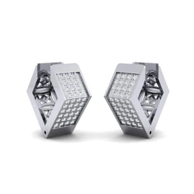 Square Pave Diamond Huggie Earrings (0.4 CTW) Perspective View