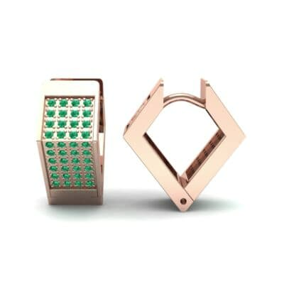 Square Pave Emerald Huggie Earrings (0.4 CTW) Top Dynamic View