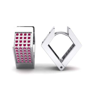 Square Pave Ruby Huggie Earrings (0.4 CTW) Top Dynamic View