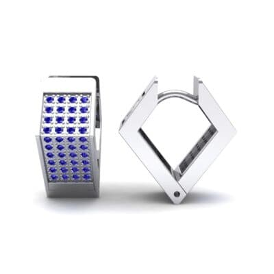 Square Pave Blue Sapphire Huggie Earrings (0.4 CTW) Top Dynamic View