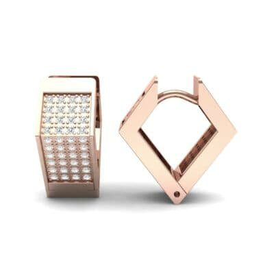 Square Pave Diamond Huggie Earrings (0.4 CTW) Top Dynamic View