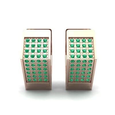 Square Pave Emerald Huggie Earrings (0.4 CTW) Side View