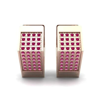 Square Pave Ruby Huggie Earrings (0.4 CTW) Side View