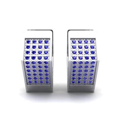 Square Pave Blue Sapphire Huggie Earrings (0.4 CTW) Side View