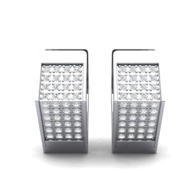 Square Pave Diamond Huggie Earrings (0.4 CTW) Side View