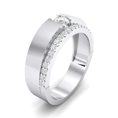 Pave Edge Verge Crystal Engagement Ring (0.35 CTW) Perspective View