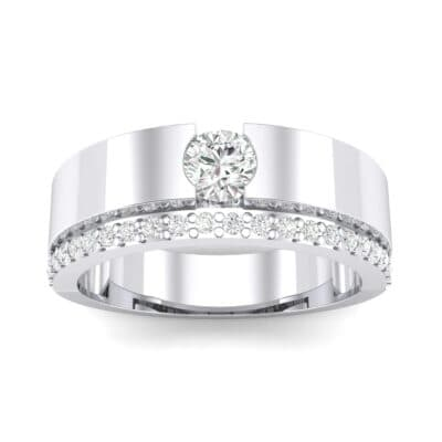 Pave Edge Verge Crystal Engagement Ring (0.35 CTW) Top Dynamic View