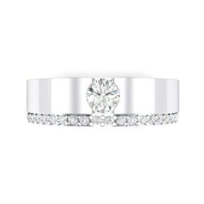 Pave Edge Verge Crystal Engagement Ring (0.35 CTW) Top Flat View