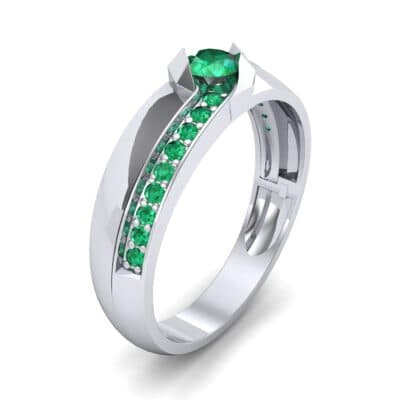 Pave Passage Emerald Engagement Ring (0.45 CTW)