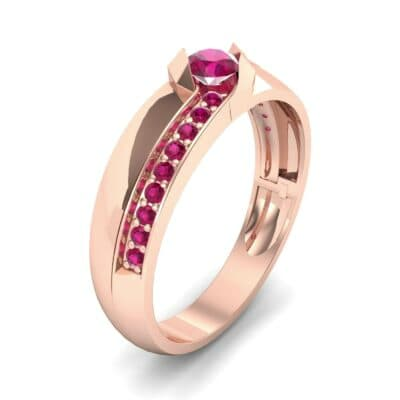 Pave Passage Ruby Engagement Ring (0.45 CTW)