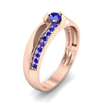 Pave Passage Blue Sapphire Engagement Ring (0.45 CTW) Perspective View