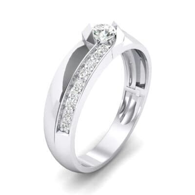 Pave Passage Crystal Engagement Ring (0.45 CTW) Perspective View