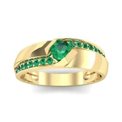 Pave Passage Emerald Engagement Ring (0.45 CTW) Top Dynamic View