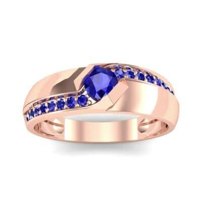 Pave Passage Blue Sapphire Engagement Ring (0.45 CTW) Top Dynamic View