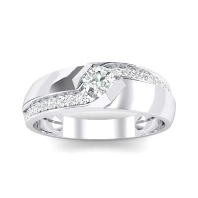 Pave Passage Crystal Engagement Ring (0.45 CTW) Top Dynamic View