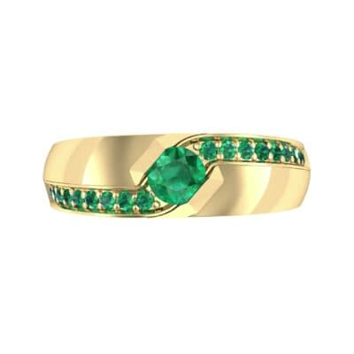 Pave Passage Emerald Engagement Ring (0.45 CTW) Top Flat View
