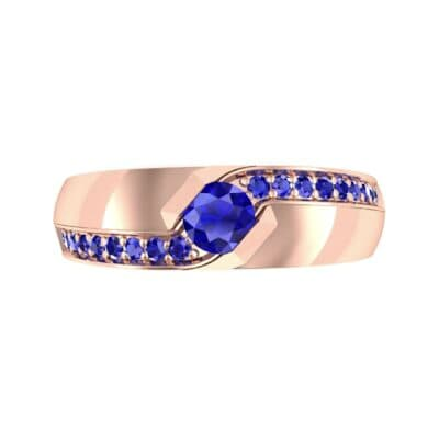 Pave Passage Blue Sapphire Engagement Ring (0.45 CTW) Top Flat View