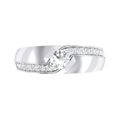 Pave Passage Crystal Engagement Ring (0.45 CTW) Top Flat View