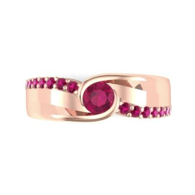 Harmony Ruby Bypass Engagement Ring (0.38 CTW) Top Flat View