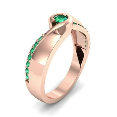 Pave Swirl Emerald Bypass Engagement Ring (0.34 CTW)