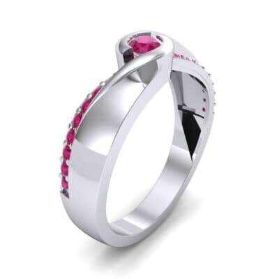 Pave Swirl Ruby Bypass Engagement Ring (0.34 CTW)