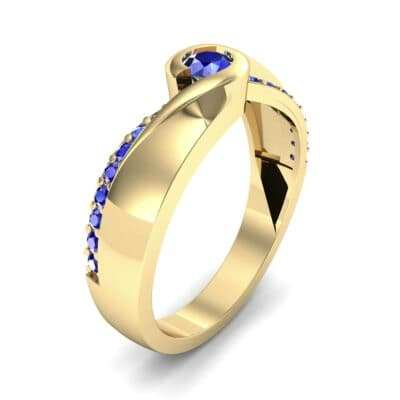 Pave Swirl Blue Sapphire Bypass Engagement Ring (0.34 CTW) Perspective View
