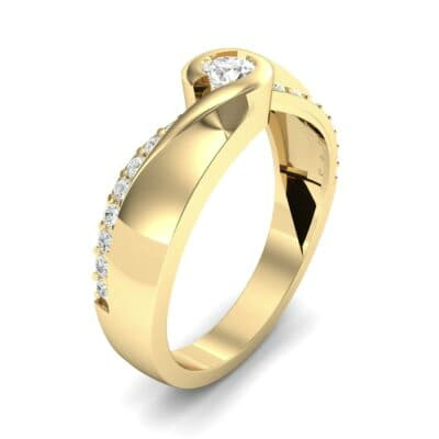 Pave Swirl Diamond Bypass Engagement Ring (0.34 CTW)