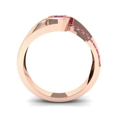 Pave Swirl Ruby Bypass Engagement Ring (0.34 CTW) Side View