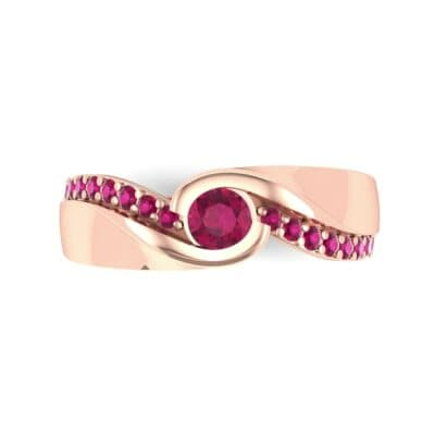 Pave Swirl Ruby Bypass Engagement Ring (0.34 CTW) Top Flat View