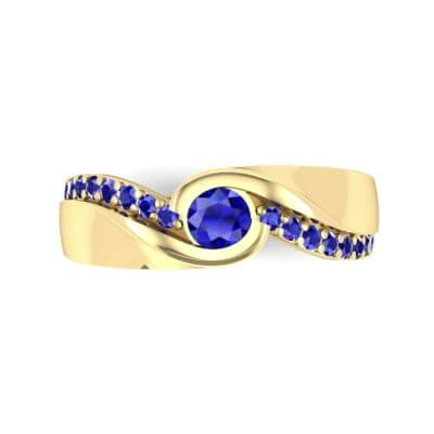 Pave Swirl Blue Sapphire Bypass Engagement Ring (0.34 CTW) Top Flat View