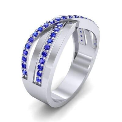 Split-Shank Overpass Blue Sapphire Ring (0.64 CTW)