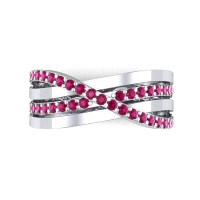 Split-Shank Overpass Ruby Ring (0.64 CTW) Top Flat View