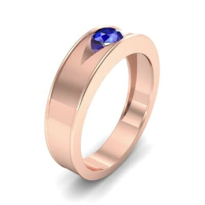 Sunken Solitaire Blue Sapphire Ring (0.22 CTW) Perspective View