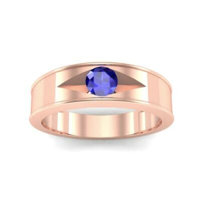 Sunken Solitaire Blue Sapphire Ring (0.22 CTW) Top Dynamic View