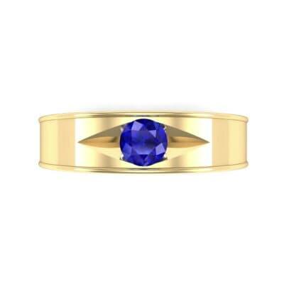 Sunken Solitaire Blue Sapphire Ring (0.22 CTW) Top Flat View