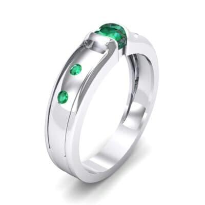 Half-Bezel Emerald Engagement Ring (0.3 CTW)