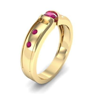 Half-Bezel Ruby Engagement Ring (0.3 CTW)