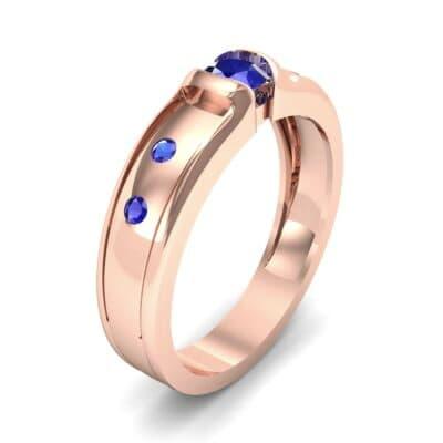 Half-Bezel Blue Sapphire Engagement Ring (0.3 CTW)