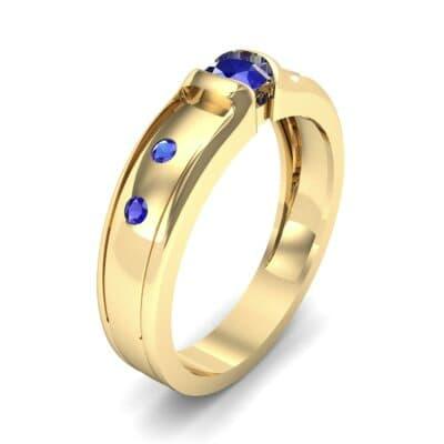 Half-Bezel Blue Sapphire Engagement Ring (0.3 CTW) Perspective View