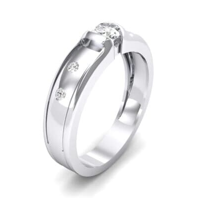 Half-Bezel Crystal Engagement Ring (0.3 CTW) Perspective View