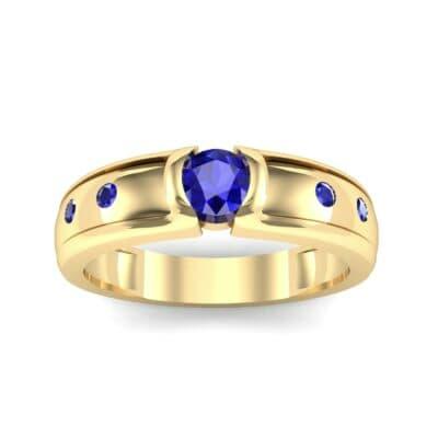 Half-Bezel Blue Sapphire Engagement Ring (0.3 CTW) Top Dynamic View