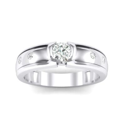 Half-Bezel Crystal Engagement Ring (0.3 CTW) Top Dynamic View