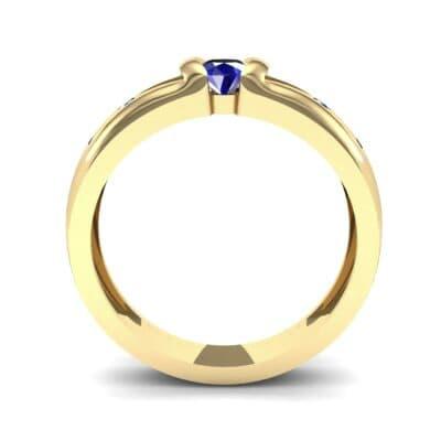 Half-Bezel Blue Sapphire Engagement Ring (0.3 CTW) Side View
