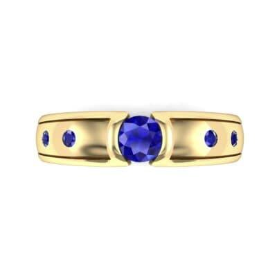 Half-Bezel Blue Sapphire Engagement Ring (0.3 CTW) Top Flat View
