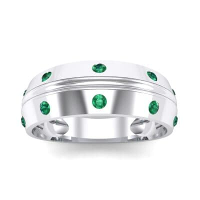 Canal Burnish Emerald Ring (0.16 CTW) Top Dynamic View