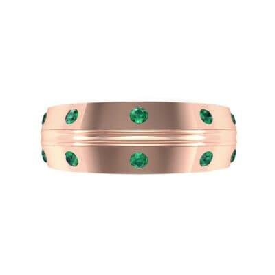 Canal Burnish Emerald Ring (0.16 CTW) Top Flat View