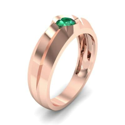 Double Knife Edge Emerald Engagement Ring (0.32 CTW)
