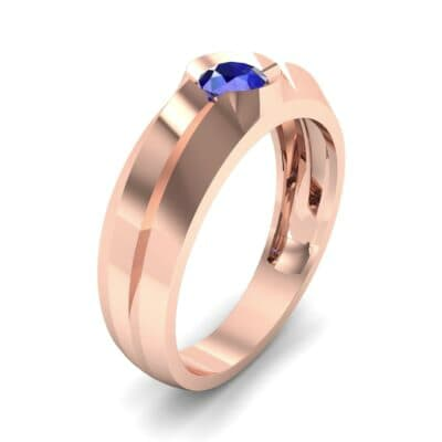 Double Knife Edge Blue Sapphire Engagement Ring (0.32 CTW)