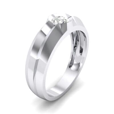 Double Knife Edge Crystal Engagement Ring (0.32 CTW) Perspective View