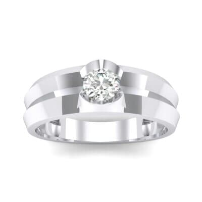 Double Knife Edge Crystal Engagement Ring (0.32 CTW) Top Dynamic View